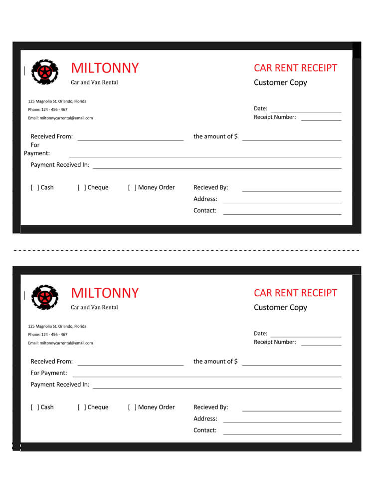 car rent receipt template 01