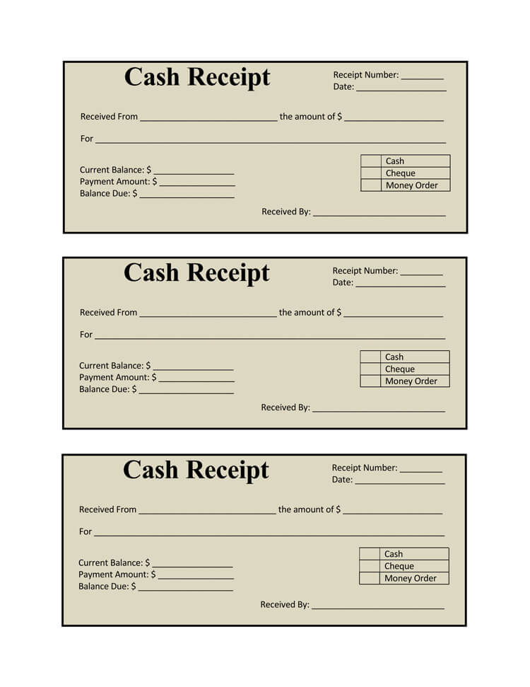 receipt book template sample