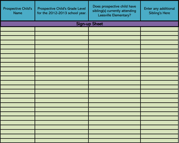 Classroom Sign-up Sheet Template