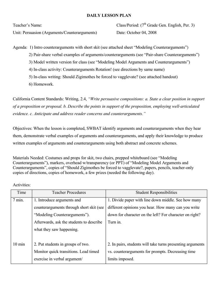14 Free Daily Lesson Plan Templates for Teachers