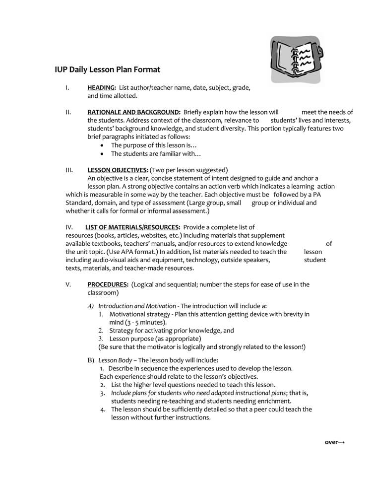92 Daily Lesson Plan Format Single Subject Lesson Plan Format I