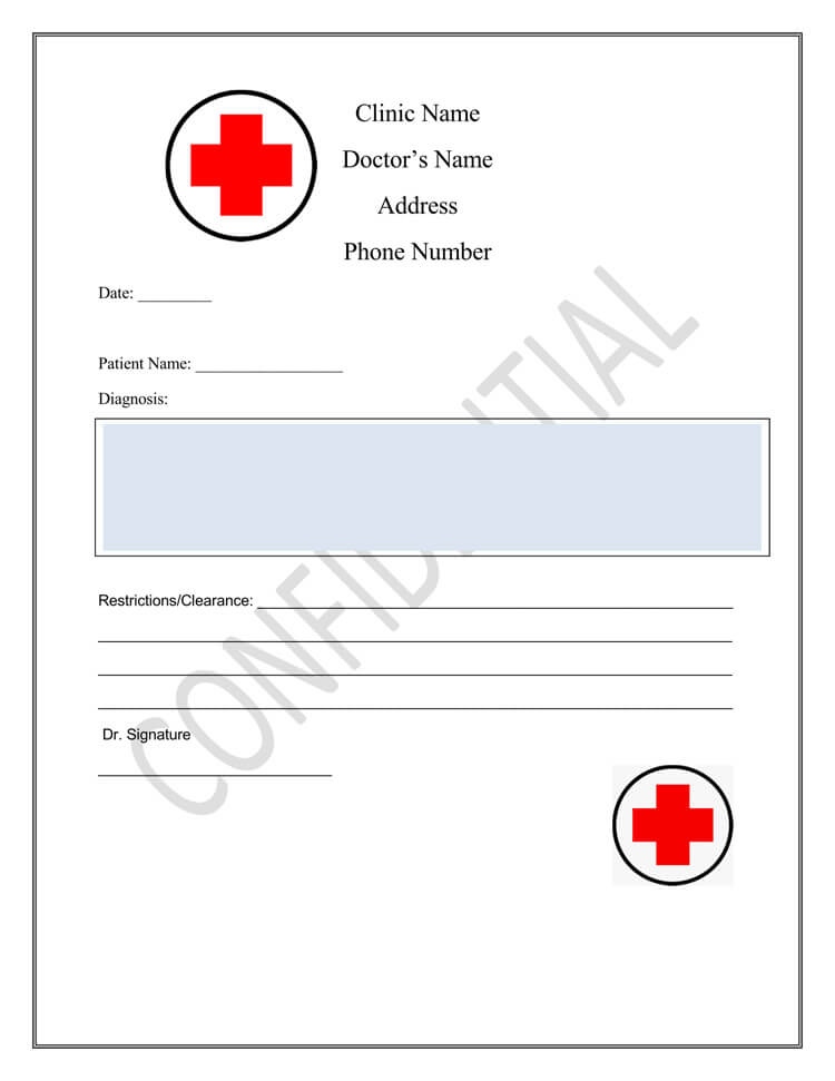 free doctors note Template