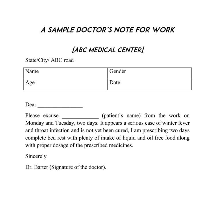 fake doctors note template for work