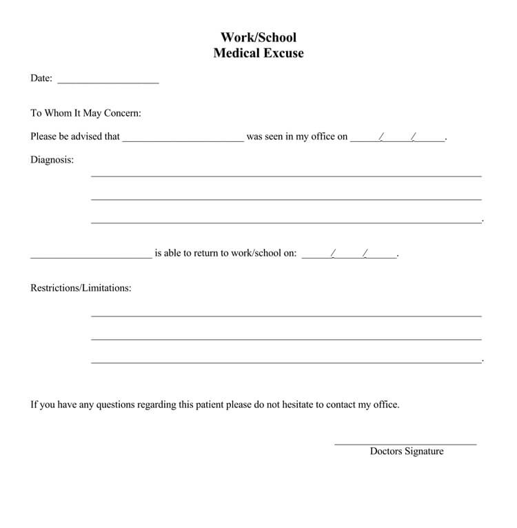 doctors note Template online free
