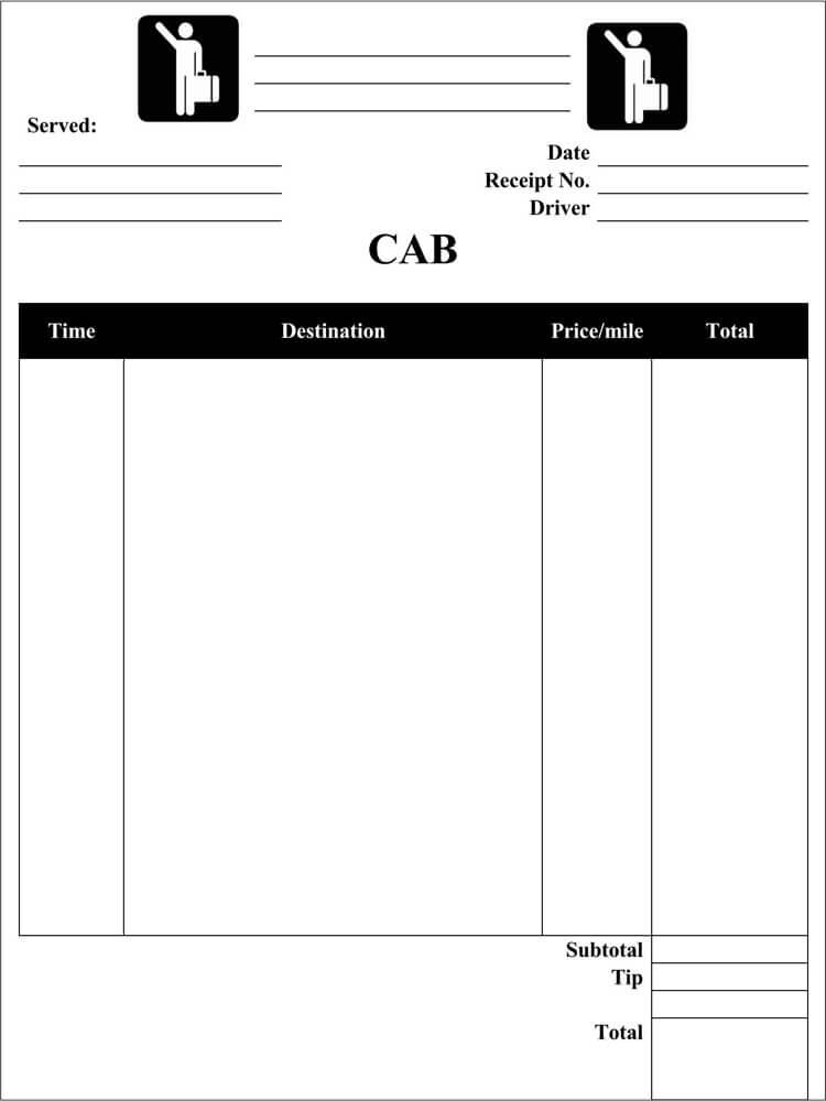 Free Cab Receipt Template PDF
