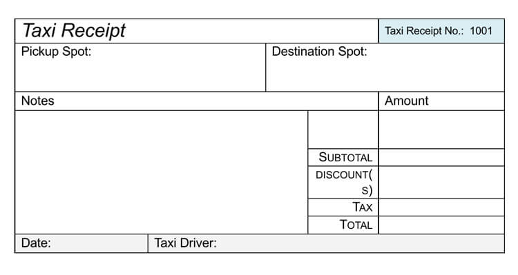 Free Taxi Receipt Templates