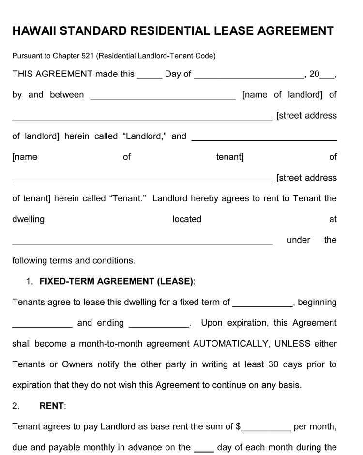 hawaii Rental Agreement template