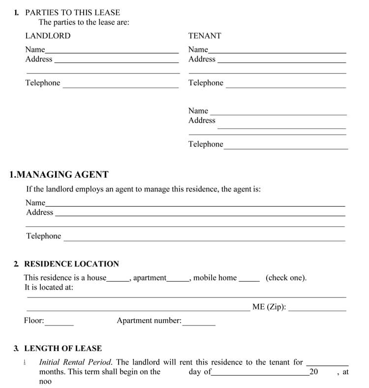 Maine Rental Agreement template