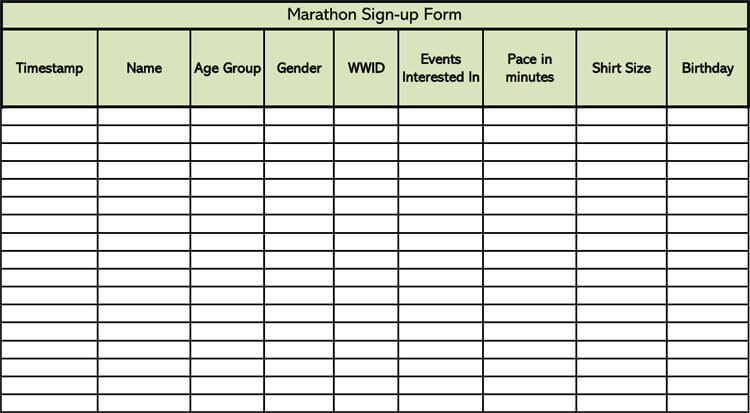Marathon Sign-up Sheet Template