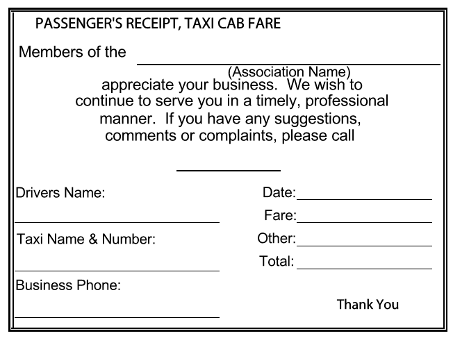 Passenger Receipt for Taxi Fare