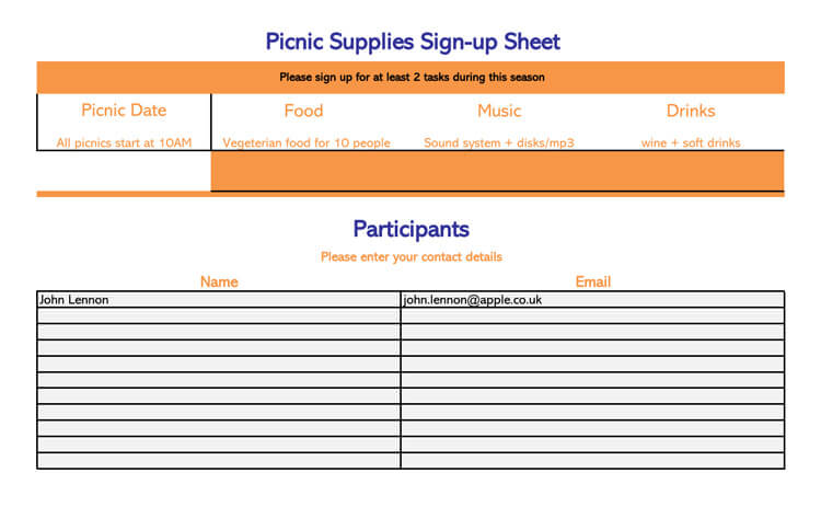 Picnic Supplies Sign-up Sheet