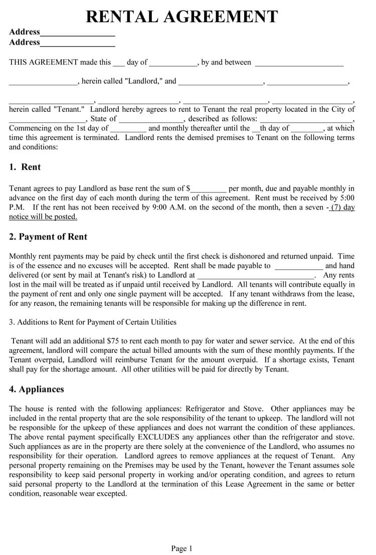 Rental Agreement Sample Template