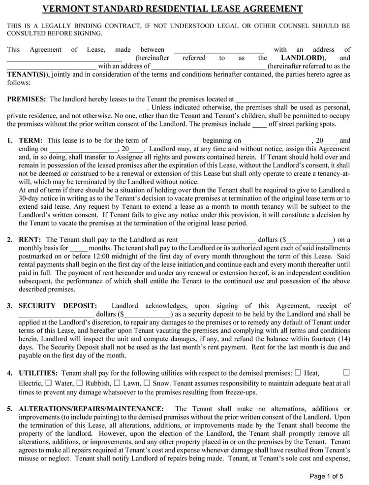 Vermont Rental agreement Template