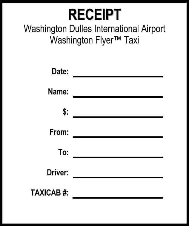 Blank Taxi Bill Format