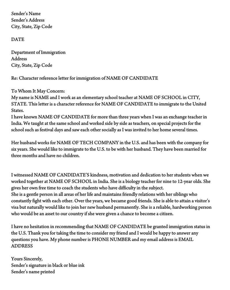 letter of support for immigration  10  sample reference