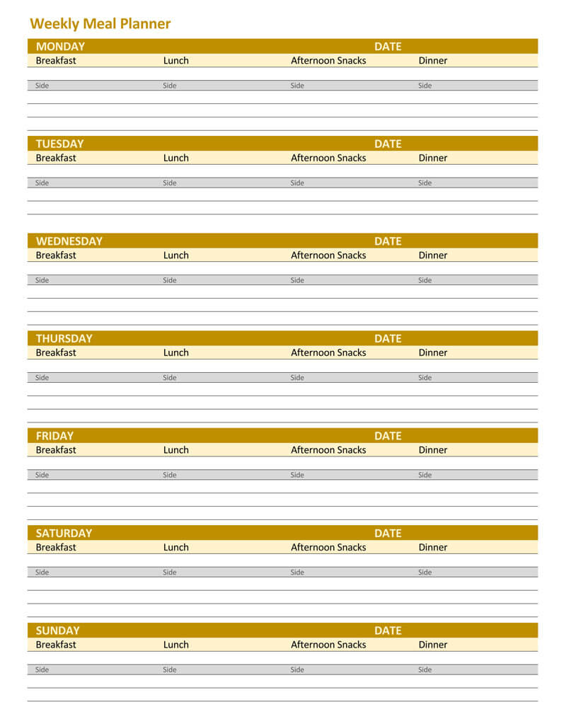 25+ Free Weekly/Daily Meal Plan Templates (for Excel and Word)