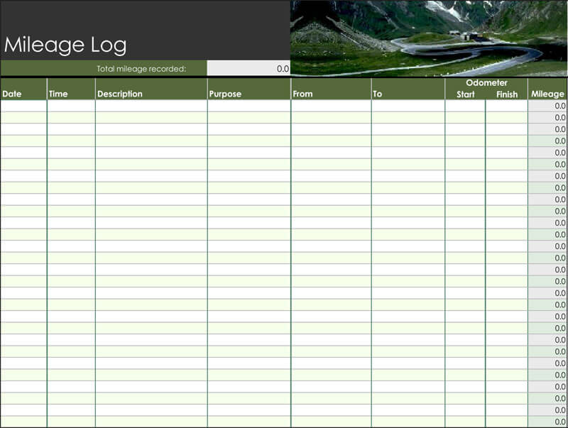 Mileage Log Excel 11