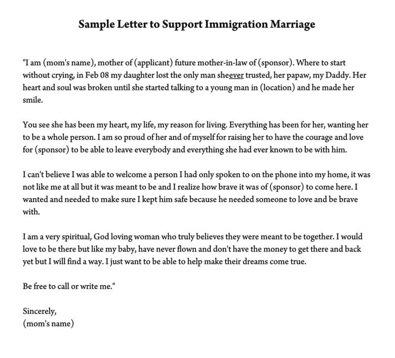 Reference Letter to Support Immigration Marriage (Samples