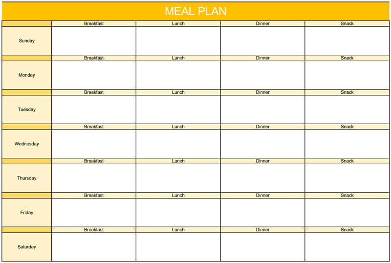 weekly food planner template