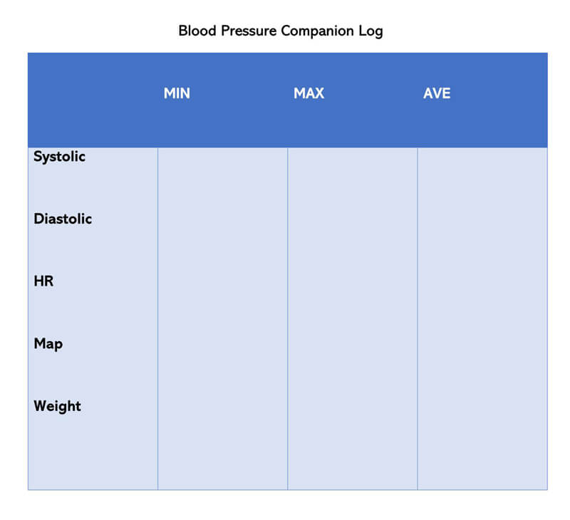 Blood Pressure Companion Log Template