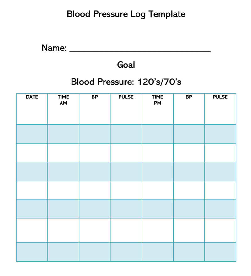 Blood Pressure Log Template 11