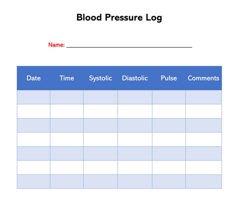 Blood Pressure Log Template 12