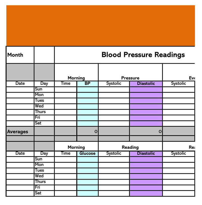 Blood Pressure log Excel Template 06