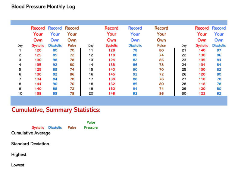Blood Pressure log Excel Template 09