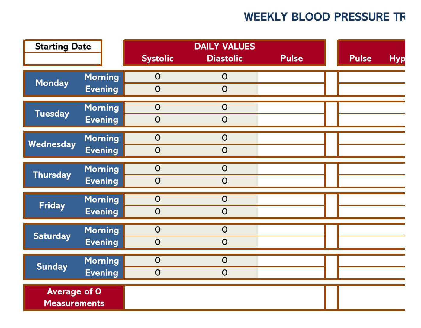 Blood Pressure log Excel Template 12