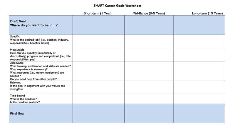 Free SMART Career Goals Worksheet