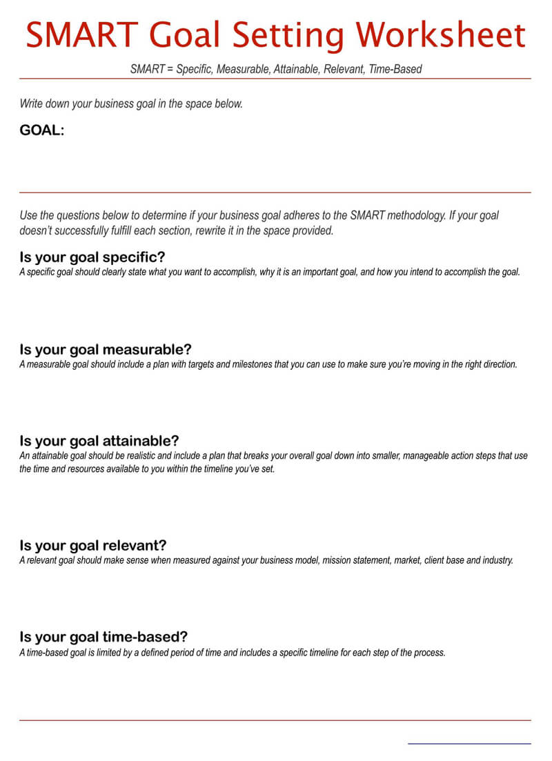 Free SMART Goals Setting Worksheet 02