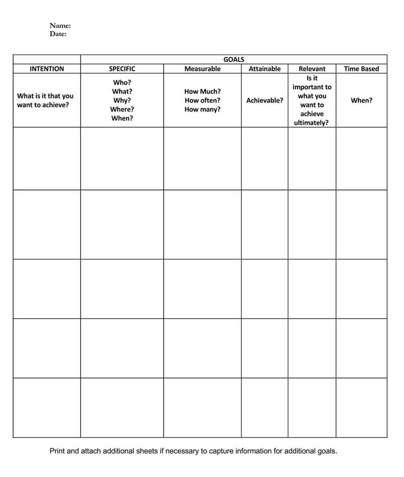 Free SMART Goals Template 04