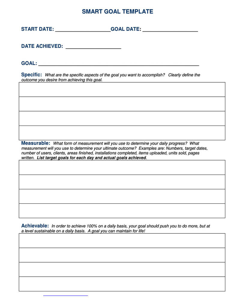 Free SMART Goals Template 14
