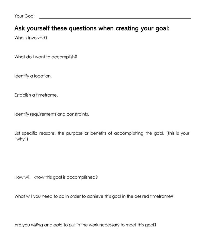 Free SMART Goals Template 24