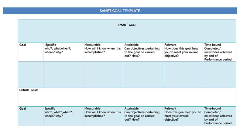 Free SMART Goals WORD Template 05
