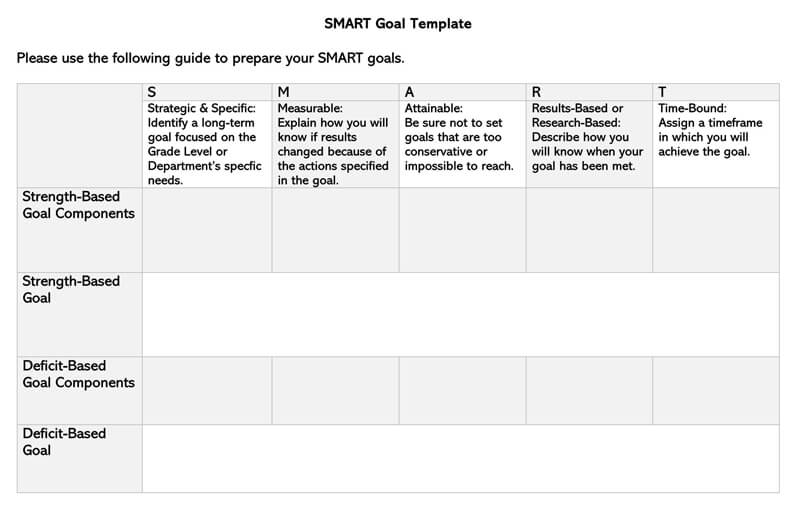 Free SMART Goals WORD Template 06