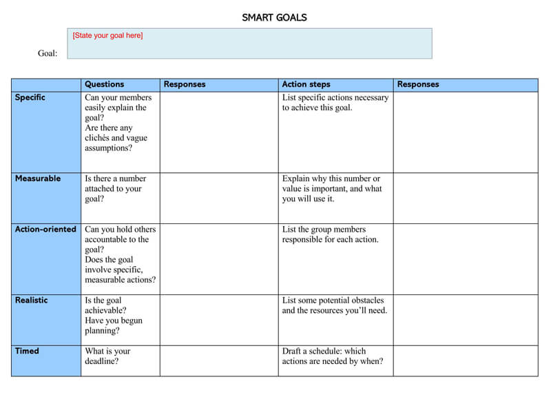 Free SMART Goals WORD Template 07