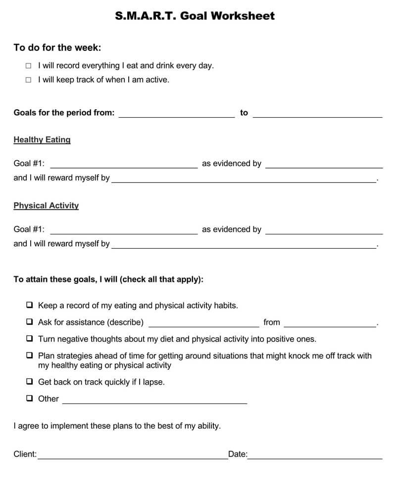 Free SMART Goals Worksheet 01