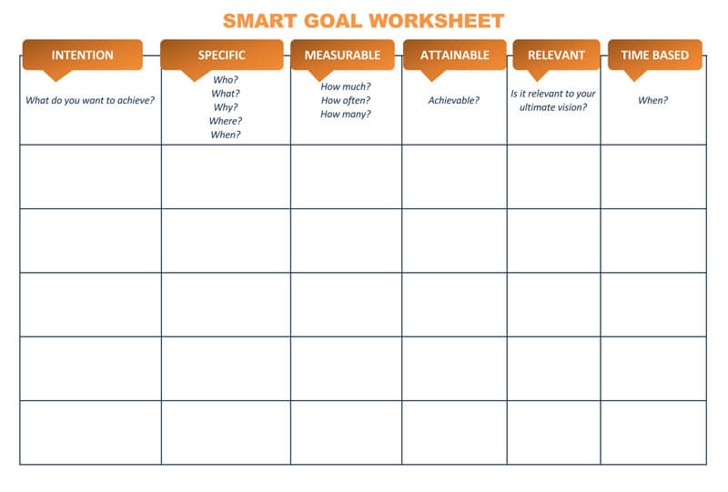 Free SMART Goals Worksheet 05