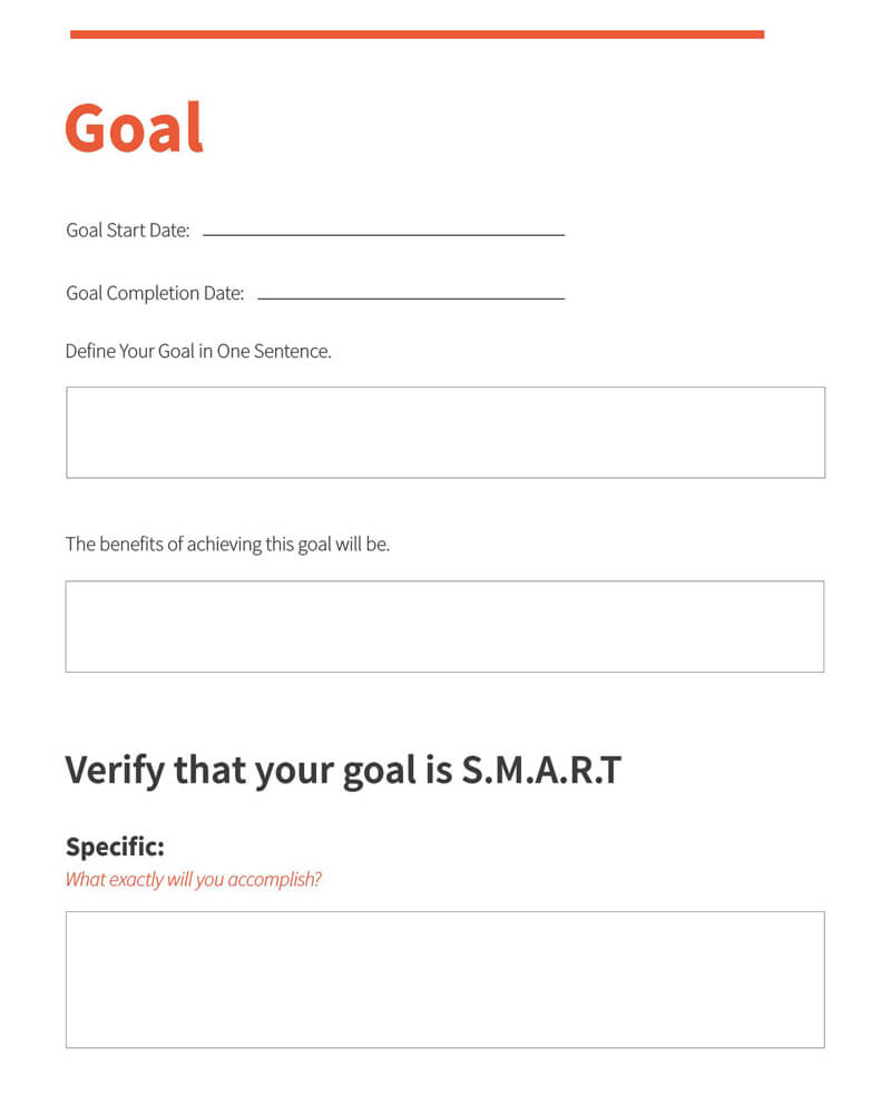 Free SMART Goals Worksheet 06
