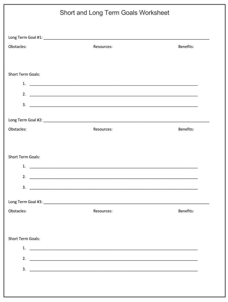 Free Short and Long Term SMART Goals Worksheet 02
