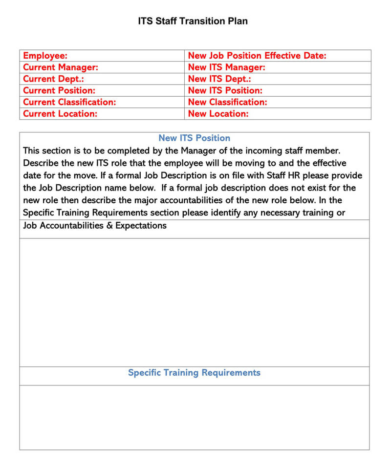 ITS Staff Tansition Plan Template