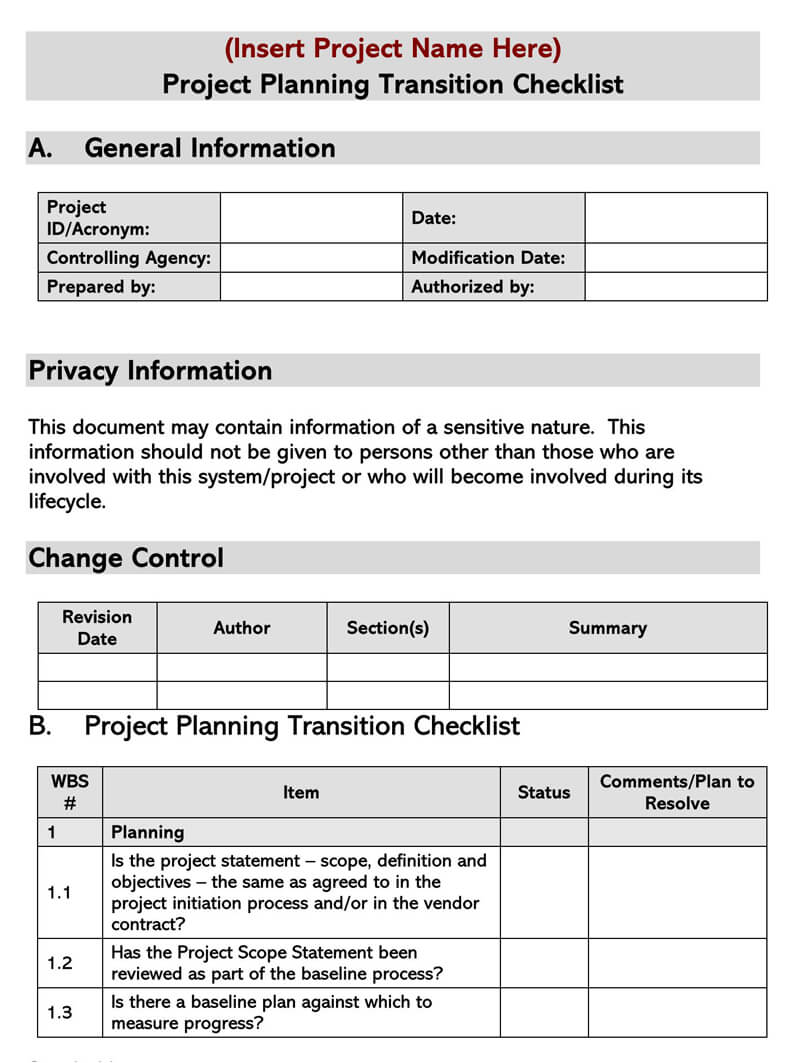 Project Transition Plan Template 02