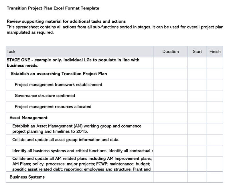 Transition Plan Excel Sheet Template 03
