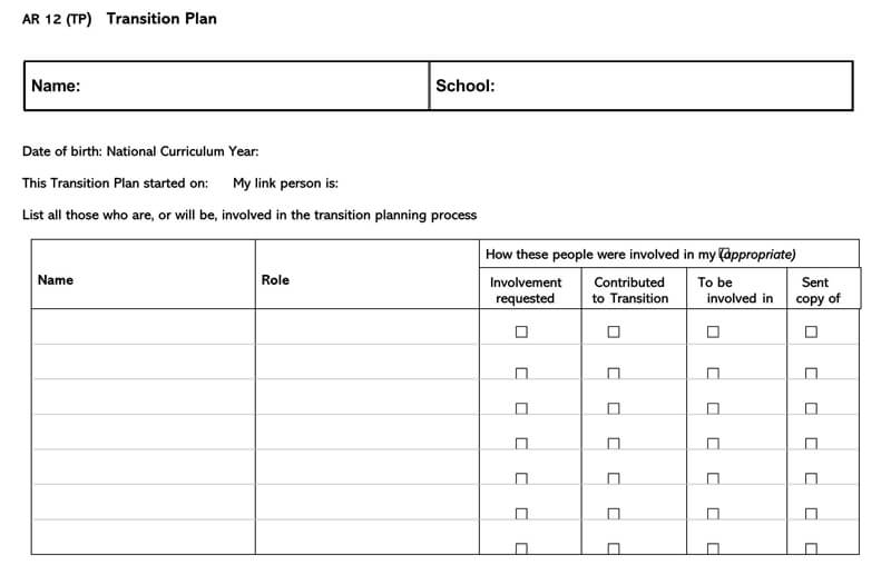Transition Plan Template 07