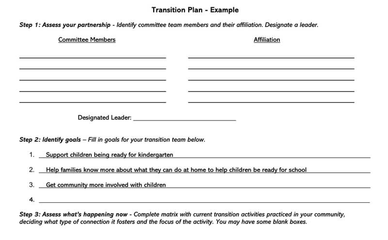 Transition Plan Template 10