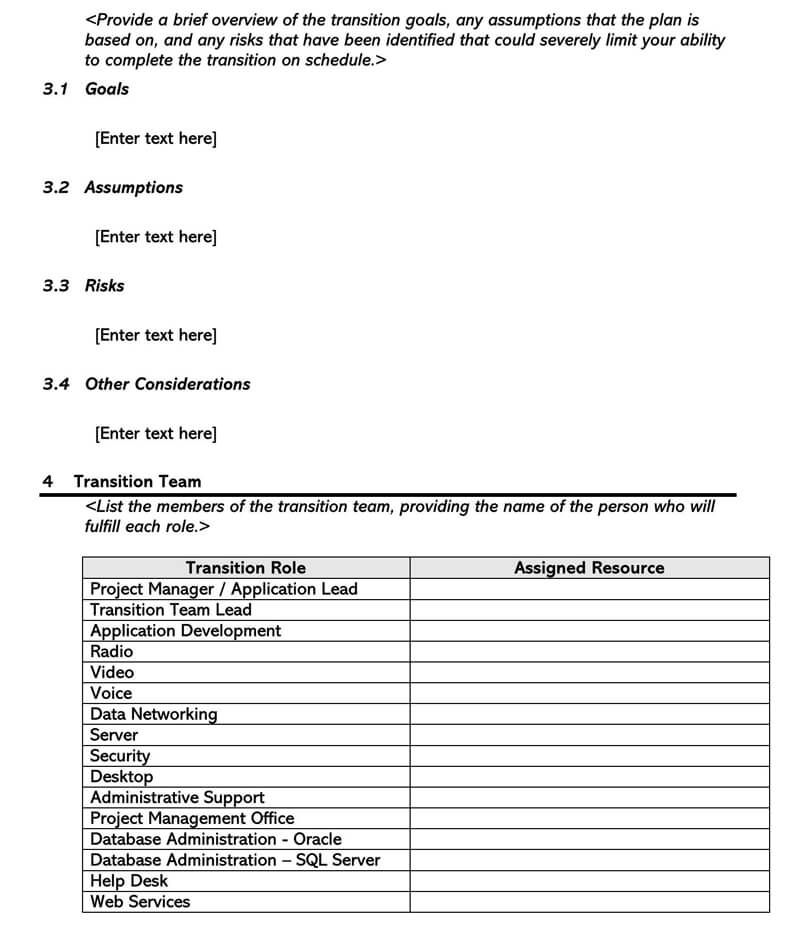Transition Plan Template 13