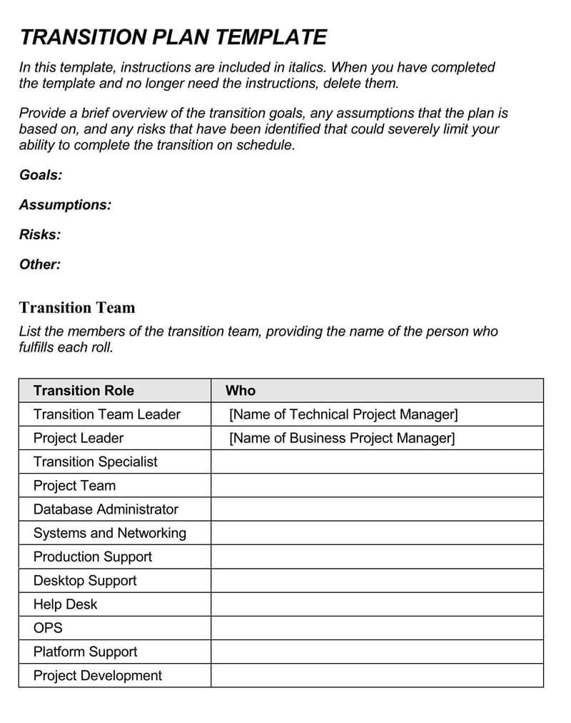 Transition Plan Template 15