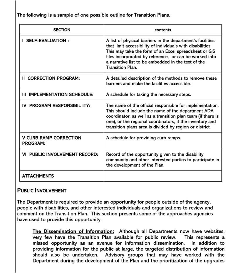 Transition Plan Template 16