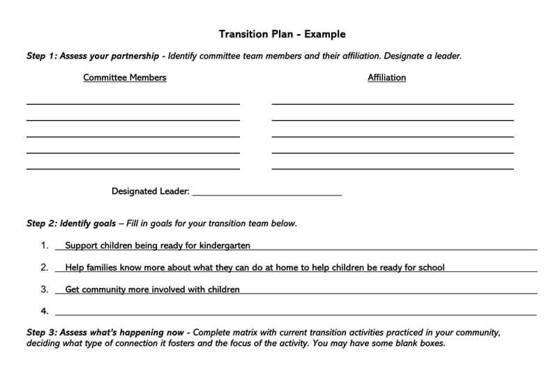 Transition Plan Template 18